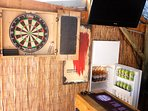 Darts Board, Built in Fridge and TV in Outdoor Bar Area