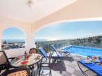 Dining, sun and pool are all a few steps from your back door!