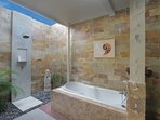 Bathroom with shower and bathrub wc  toilettries hair and hairdresser