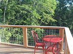 Deck above the forest w/ LED rail lights, perfect for morning coffee or evening night cap