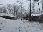 Our brief rare snowfalls give our property a winter wonderland look