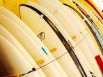 En Somo puedes hacer cursos de Surf y alquilar el material necesario.