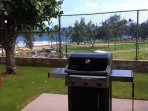 Gas cooker. Nawiliwili Park in background.