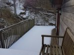 Looking down to the bottom deck from the kitchen door