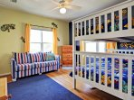 first level with full sized bunks and sleeper sofa