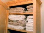 bathroom shelves with fresh towels
