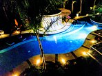 View of pool from our 3rd floor condo at night