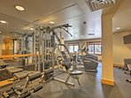 Keep up with your fitness routine in the workout room.