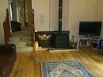 Living room showing log burner