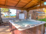Enjoy the ocean views from the newly covered hot tub.