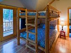 The Bunk Room's queen sized beds works for all ages. This room also has closet and private balcony.