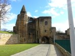 Park right at the entrance to Dunfermline Abbey and Palace, only two minutes walk to the town centre