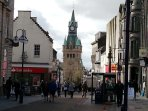 Dunfermline Townhall clock tower and the main High Street