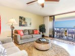 Living Room and Lanai with an Ocean View