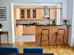 Large family kitchen with dining area / seating for up to 8 people.