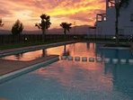 Sunset view over pool