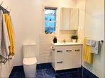 Spacious bathroom with wheelchair access
