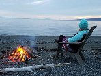 Outside beach on Kachemak Bay evening beach fire.  Firewood included with your stay.