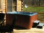 Back Porch with Gas Grill, Seating and 6 person Hot Tub