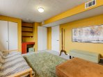 The Yellow Room. Doubles as an office for longer stays. Futon is a full bed. with 2 mattress toppers