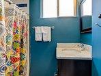 Gorgeous bathroom. Shower, no tub.