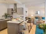Large & airy open plan living-dining-kitchen and recliner chairs