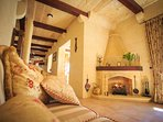 Cosy fireplace and lounge for those cooler months. Under floor heating is also installed
