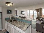 Modern beach decor and beautiful ocean views in this oceanfront condo