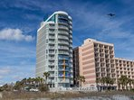 Atlantica North Tower from the beach.  This unit is on the 7th floor middle large balcony