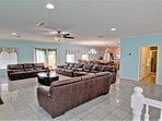 So much room to entertain everyone in your group. huge flat screen cable HDTV and balcony