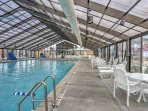 The indoor pool is perfect for relaxing on  less-than sunny days.
