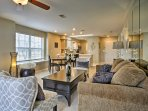 After a day on the strip, unwind in the spacious living room.