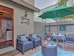 This front private patio is the perfect place to discuss the day's highlights with loved ones.