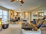 The condo's open floor plan gives it an inviting and spacious feel.