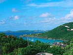 The view from your upper deck – overlooking Great Cruz Bay Harbor, Pillsbury Sound and St. Thomas