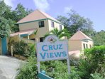 This is your first look at Cruz Views as you come up the hill from Cruz Bay