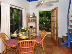 There is a dining table on the porch and also in the great room