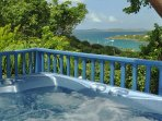 This hot tub is just off the living room and also has a harbor view