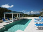 This pool and sundeck offer privacy, peace and quiet – all less than a 10 minute drive from Cruz Bay