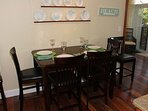 The interior dining table seats 4-6 people