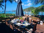 Dining with a harbor view
