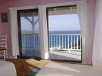 The pillow view from the upper twin bedroom also has a bold view that stretches down the coast