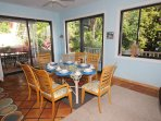 The interior dining table seats 6-8 persons