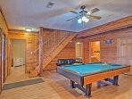 Get your competitive juices flowing in the basement game room.