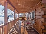 Enjoy a cup of coffee on the furnished porch.