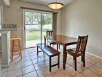 Savor homemade meals at the 4-person dining table with room for 2 more at the bar.