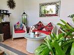 Outdoor Living Area,CD Player, Ceiling Fan, Water Dispenser,Glass door to kitchen, Pool Outlook