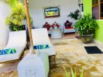 2 sun lounge..private sunning, shade umbrella,great chill out spot