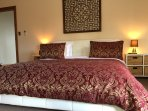 Main bedroom with King size bed and luxurious egyptian cotton linen for a good nights rest