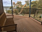 The large deck surrounding the home provides ample viewing points and space for the whole family